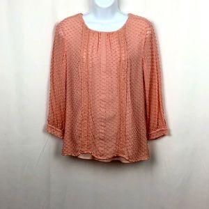 J.Crew sheer Silk overlay blouse 8P